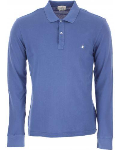 Niebieski t-shirt z długimi rękawami bawełniany Brooksfield