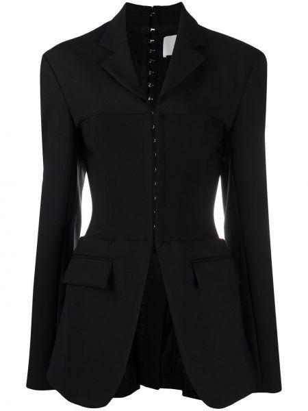 Шерстяной черный удлиненный пиджак с лацканами Dion Lee