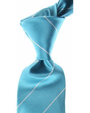 Biały krawat w paski z jedwabiu Kiton