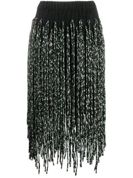 Нейлоновая черная юбка с бахромой с поясом Christian Wijnants