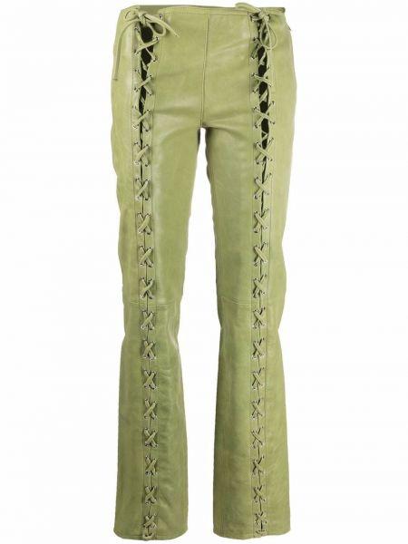 Zielone spodnie skorzane Saks Potts