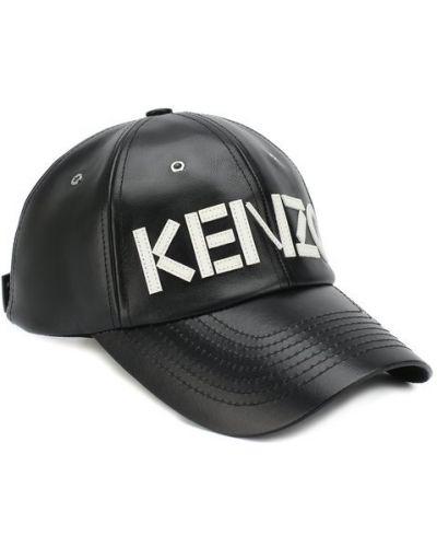 Черная бейсболка кожаная Kenzo