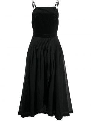 Черное тонкое платье миди на бретелях с вырезом Renli Su
