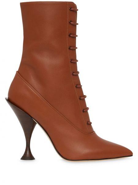 Brązowy buty na pięcie z ostrym nosem z prawdziwej skóry na sznurowadłach Burberry