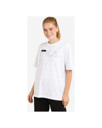 Хлопковая белая футболка с короткими рукавами Fila