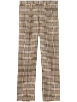 Brązowe spodnie wełniane z paskiem Burberry