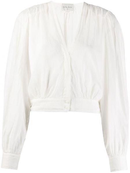 Bluzka z długim rękawem biała jedwabna Forte Forte