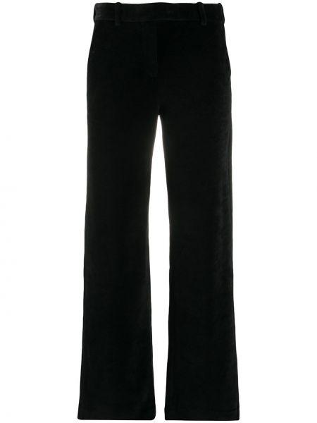 Прямые бархатные черные брюки с потайной застежкой Circolo 1901