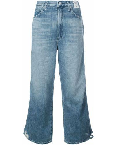 Широкие джинсы синие на пуговицах Amo