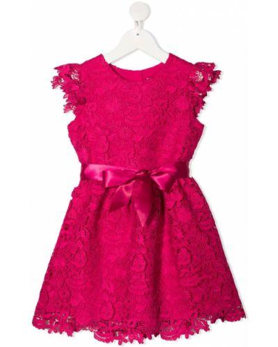 Różowa sukienka mini koronkowa bez rękawów Charabia