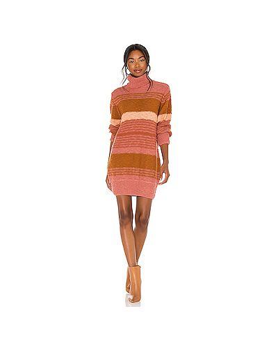 Хлопковое вязаное розовое платье Lspace
