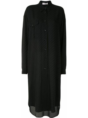 Jedwab czarny długo sukienka z kołnierzem z mankietami Givenchy
