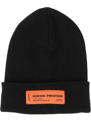 Акриловая черная шапка бини с отворотом Heron Preston