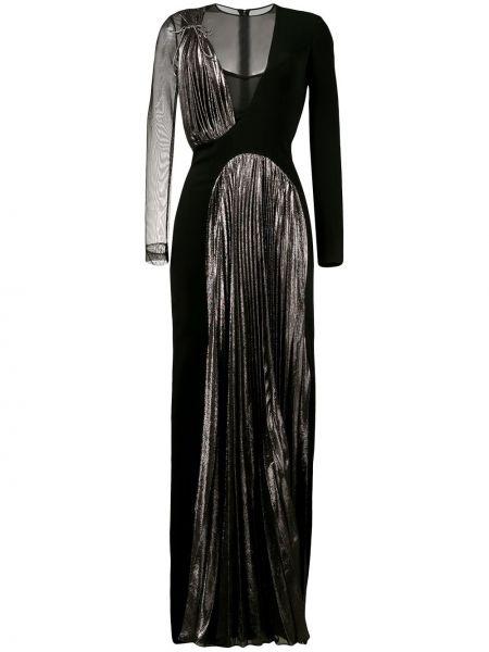 Czarny pofałdowany jedwab długo sukienka Christopher Kane