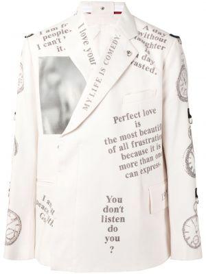 С рукавами шерстяной белый удлиненный пиджак Takahiromiyashita The Soloist