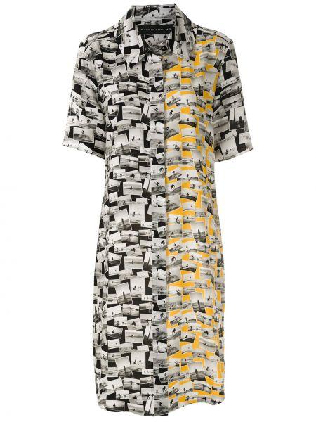 Прямое классическое платье мини на пуговицах с воротником Gloria Coelho