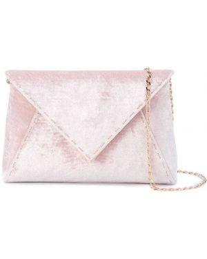 Золотистая шелковая розовая сумка на цепочке с карманами Tyler Ellis