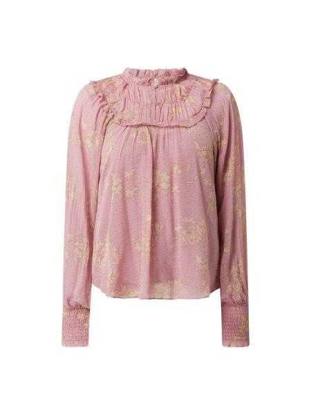 Różowa bluzka z falbanami z wiskozy Second Female