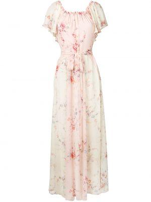 Платье мини розовое с цветочным принтом Loveshackfancy