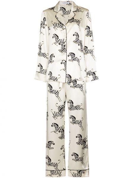 Белая шелковая пижама на пуговицах Olivia Von Halle