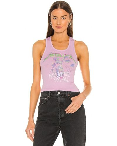 Prążkowany fioletowy top bawełniany Daydreamer