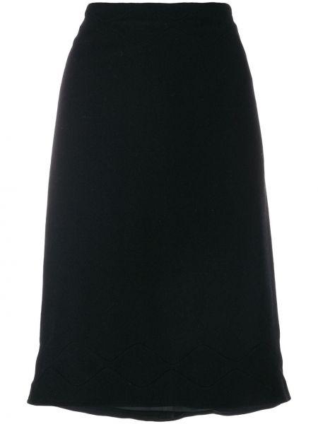 Черная юбка миди винтажная в рубчик Jil Sander Pre-owned