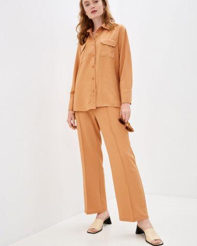 Костюмный коричневый брючный костюм Imocean