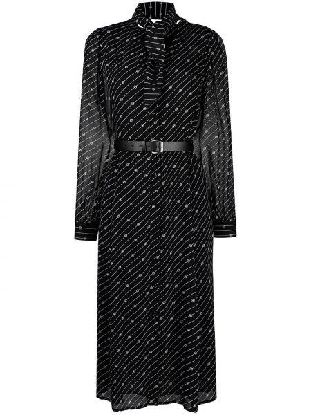 С рукавами черное платье миди с вырезом Michael Michael Kors