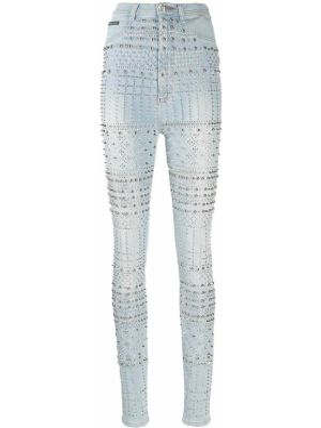 С завышенной талией хлопковые синие джинсы Philipp Plein