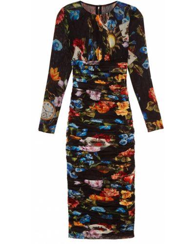 Платье миди приталенное прямое с драпировкой Dolce&gabbana