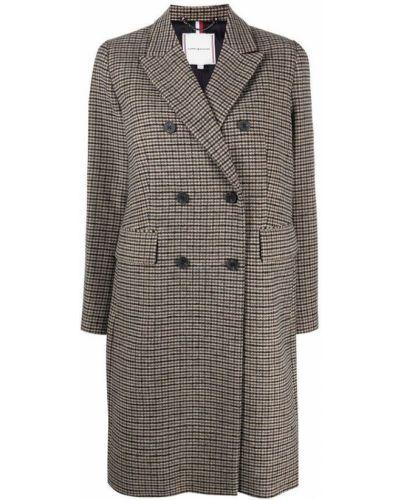 Beżowy długi płaszcz wełniany z długimi rękawami Tommy Hilfiger