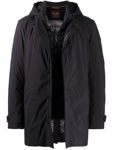 Черная дутая куртка на молнии с капюшоном Moorer