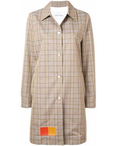 Бежевое пальто классическое с капюшоном с воротником Calvin Klein