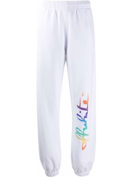 Biały bawełna bawełna joggery Off-white