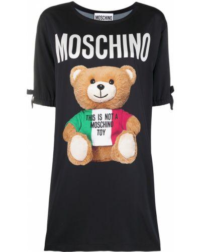С рукавами черное платье мини трапеция Moschino