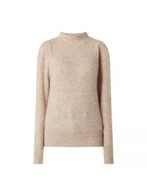 Prążkowany beżowy sweter wełniany Neo Noir