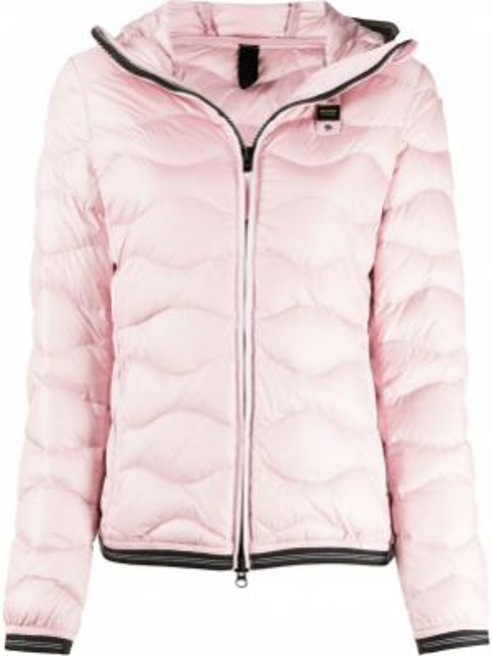 С рукавами розовая облегченная куртка с капюшоном с перьями Blauer