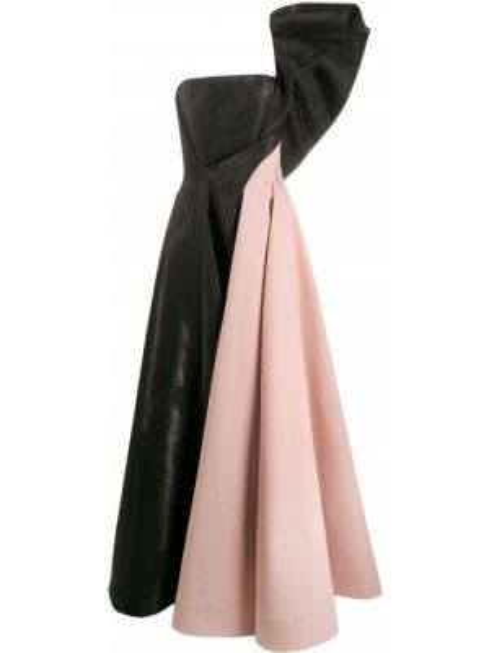 Черное расклешенное вечернее платье на молнии без бретелек Avaro Figlio