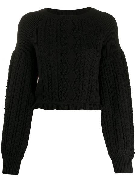 С рукавами шерстяной черный свитер с круглым вырезом Ports 1961