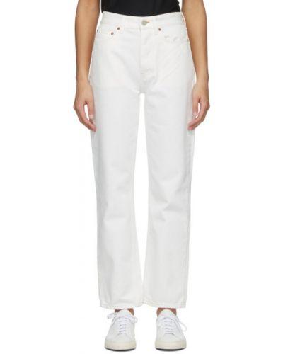 Прямые белые укороченные джинсы с карманами Won Hundred