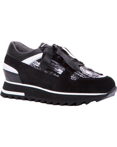 Черные кроссовки замшевые Santoni