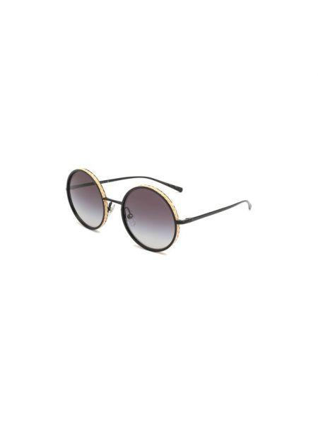 Серые солнцезащитные очки круглые металлические матовые Chanel