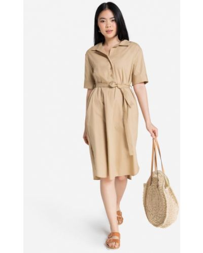 Джинсовое платье миди - бежевое Gloria Jeans