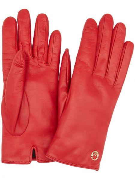 Желтые кожаные перчатки Fendi