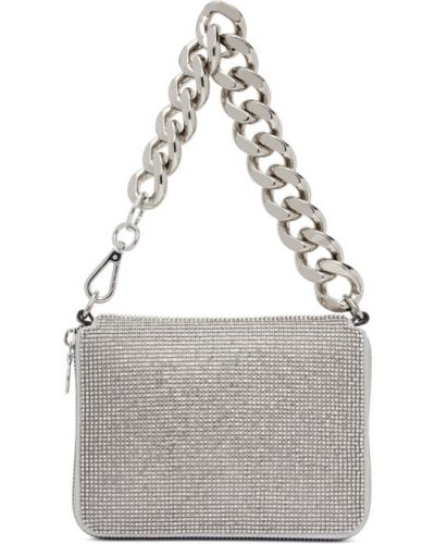 Серебряный кожаный клатч на цепочке с карманами Kara