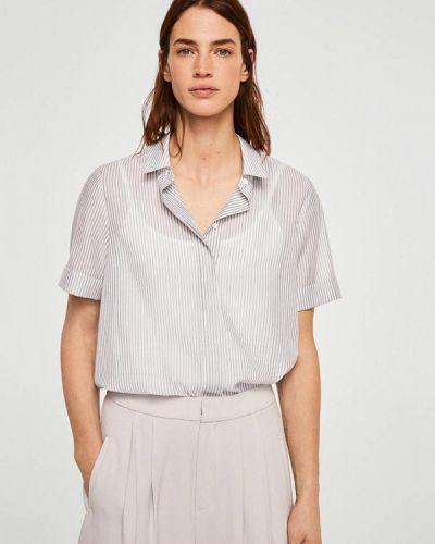 Белая рубашка с коротким рукавом Mango