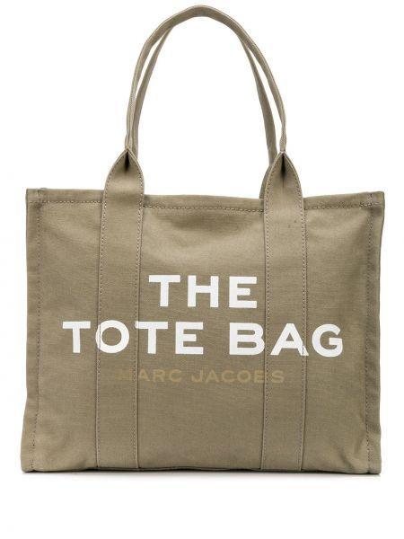 Хлопковая бежевая сумка-тоут круглая с карманами Marc Jacobs