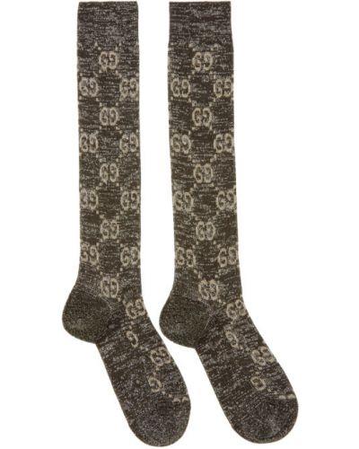 Черные носки высокие с люрексом с манжетами Gucci