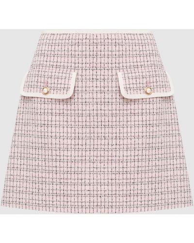 Розовая юбка в клетку Miu Miu