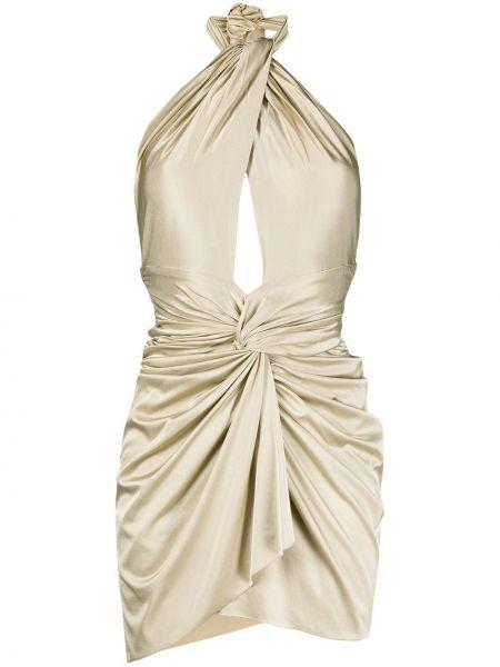 Złota sukienka mini asymetryczna bez rękawów Alexandre Vauthier